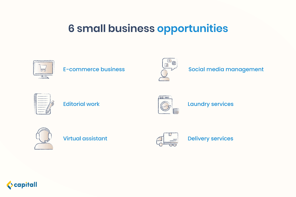 Infographic on 6 small business opportunities in Singapore